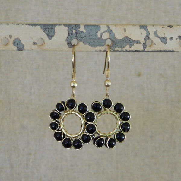 Beaded Sun Earrings - Black