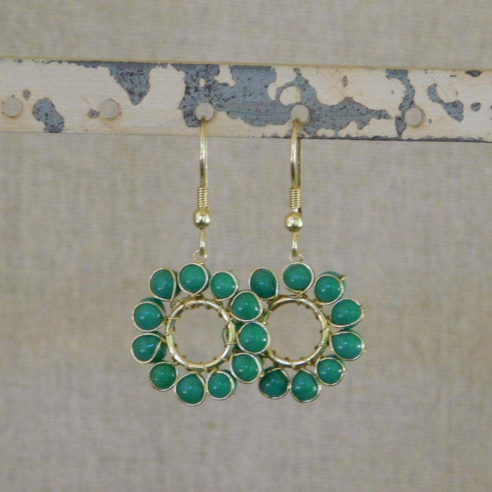 Beaded Sun Earrings - Green