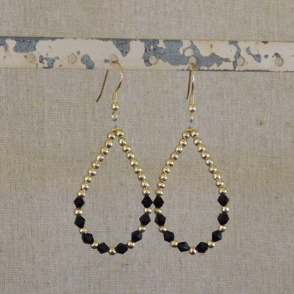 Crystal and Gold Bead Earrings - Black