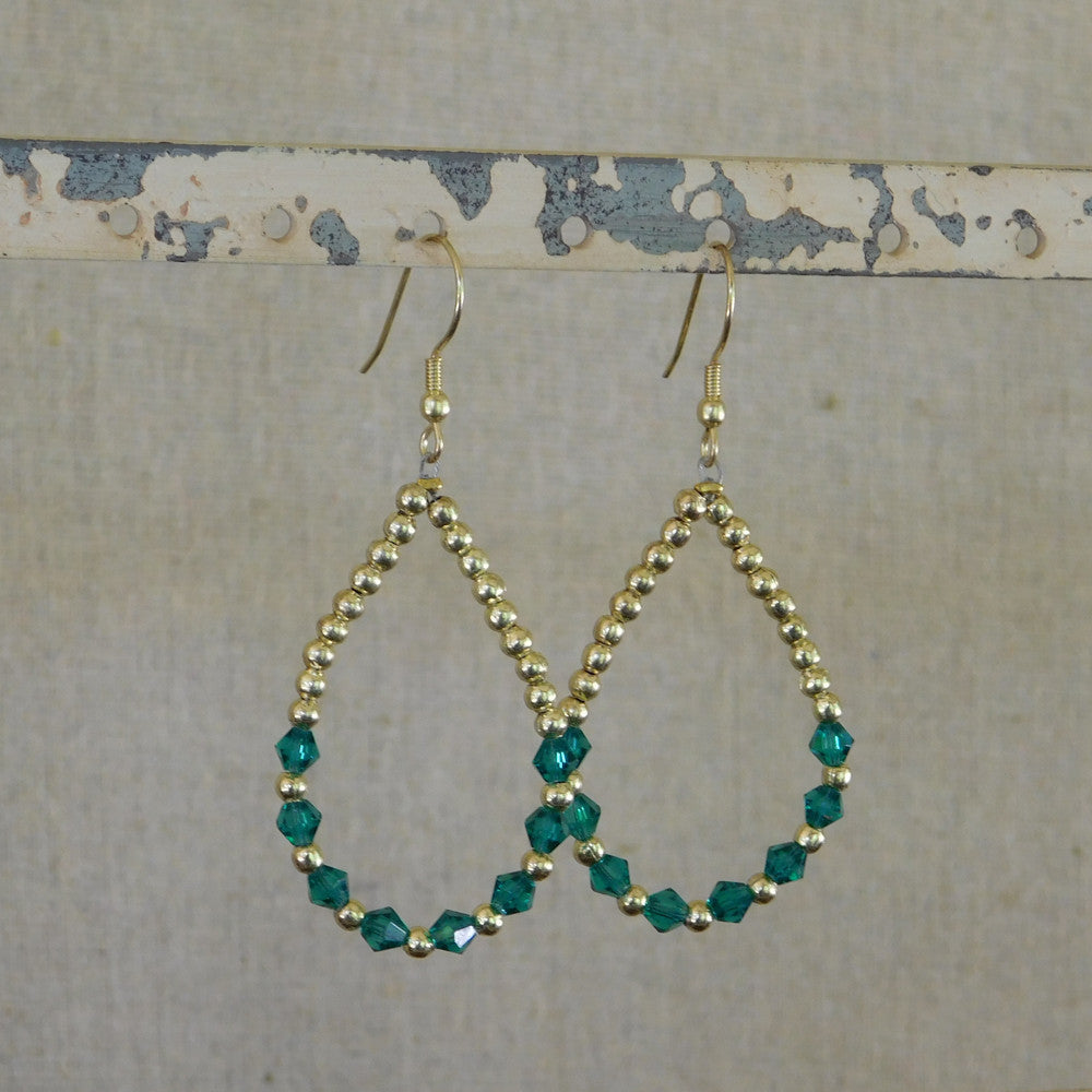 Crystal and Gold Bead Earrings - Green