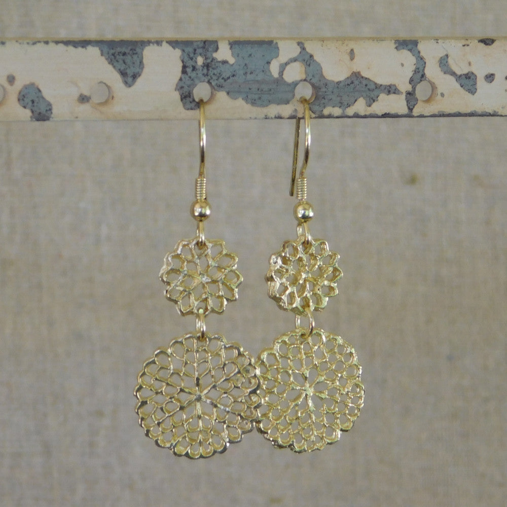 Tickled Pink Floral Charms Earrings - Gold