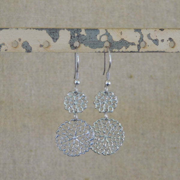 Tickled Pink Floral Charms Earrings - Silver