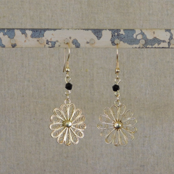 Intricate Flower Earrings - Black