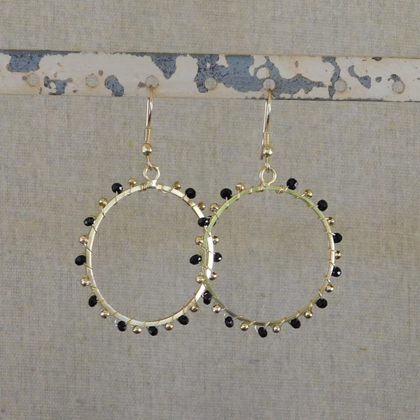 Golden Beaded Hoop Earrings - Black