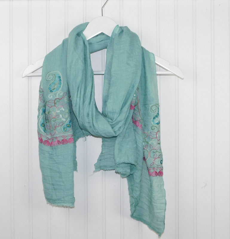 Floral Embroidered Scarf - Aqua