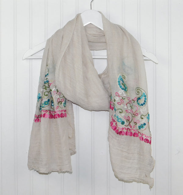 Floral Embroidered Scarf - Beige