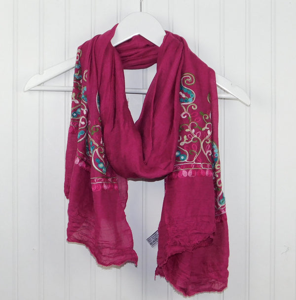 Floral Embroidered Scarf - Dark Pink