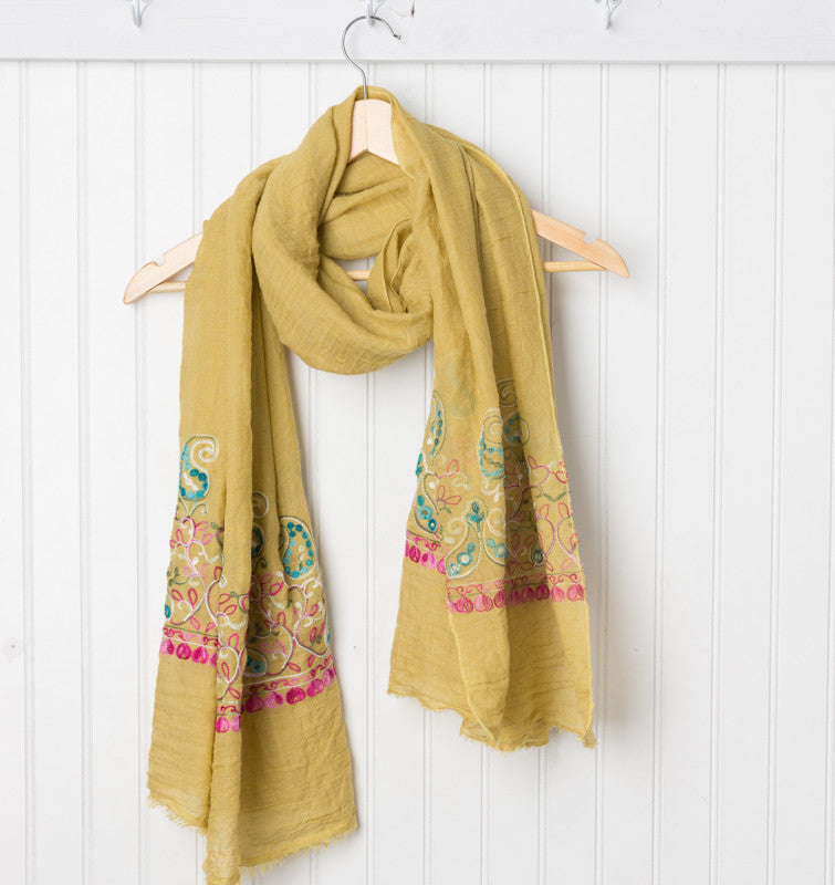 Floral Embroidered Scarf - Mustard
