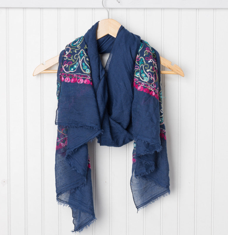Floral Embroidered Scarf - Navy