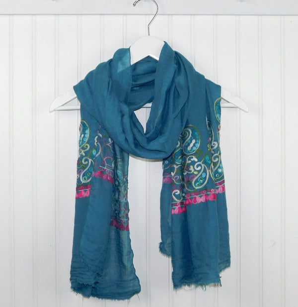 Floral Embroidered Scarf - Teal