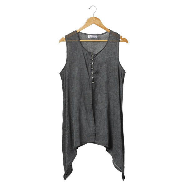 Wholesale Scarves - Emony Sleeveless Tunic - Gray - Tickled Pink