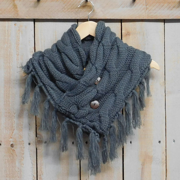 Fringed Collar Wrap - Gray