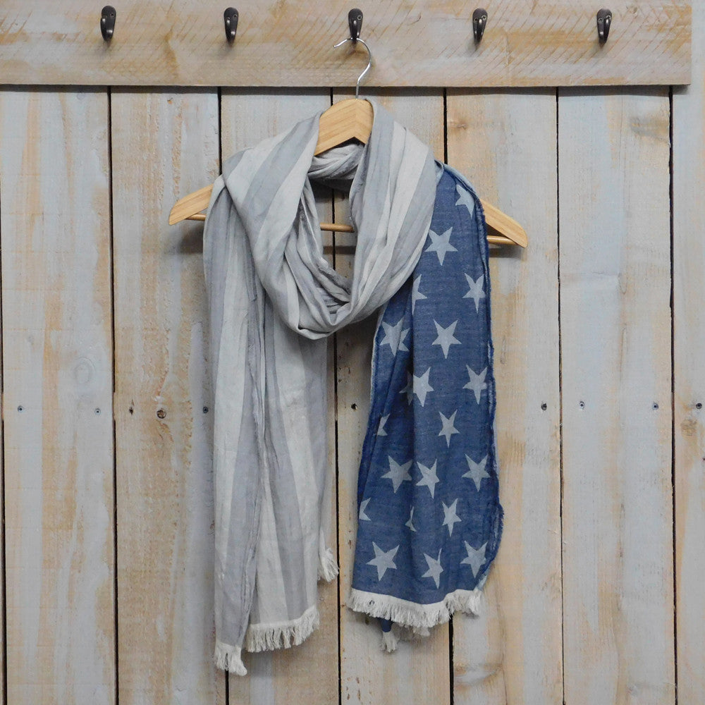 American Flag Scarf - Blue & Gray
