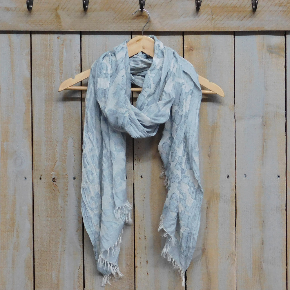 Vintage Floral Tapestry Scarf - Gray