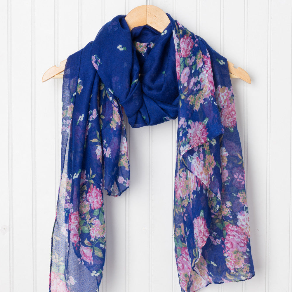 Vibrant Floral Scarf - Royal Blue