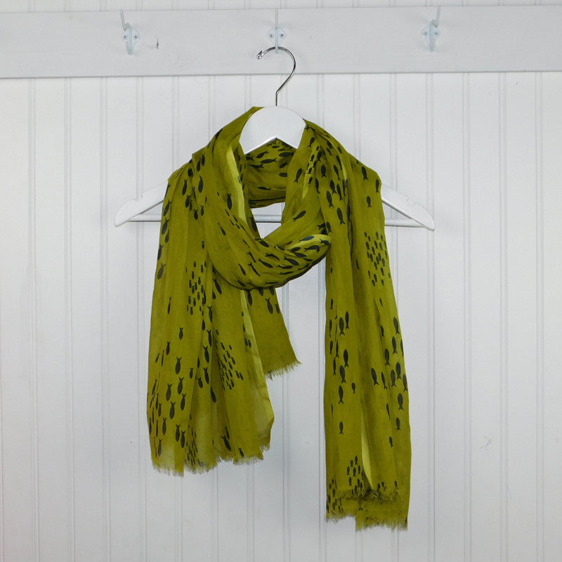 School of Fish Scarf - Chartreuse