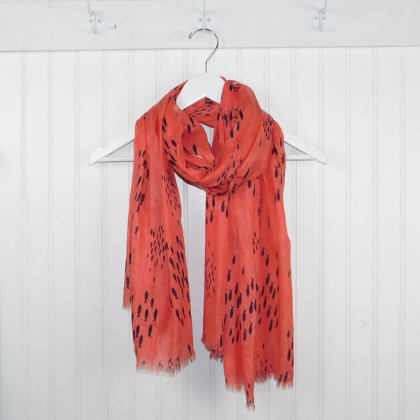 School of Fish Scarf - Coral