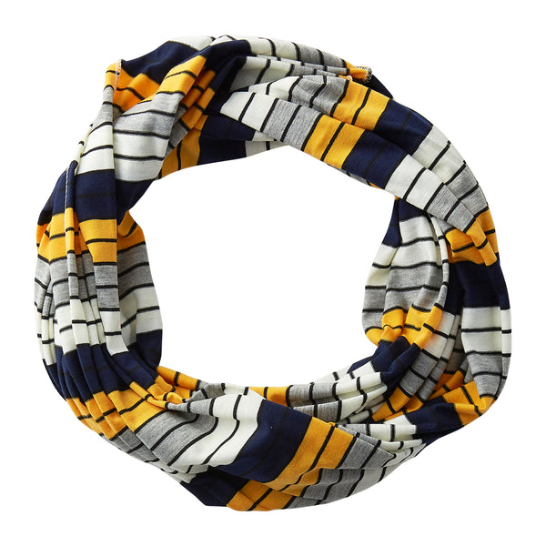 Gray Striped Infinity - Navy Gold