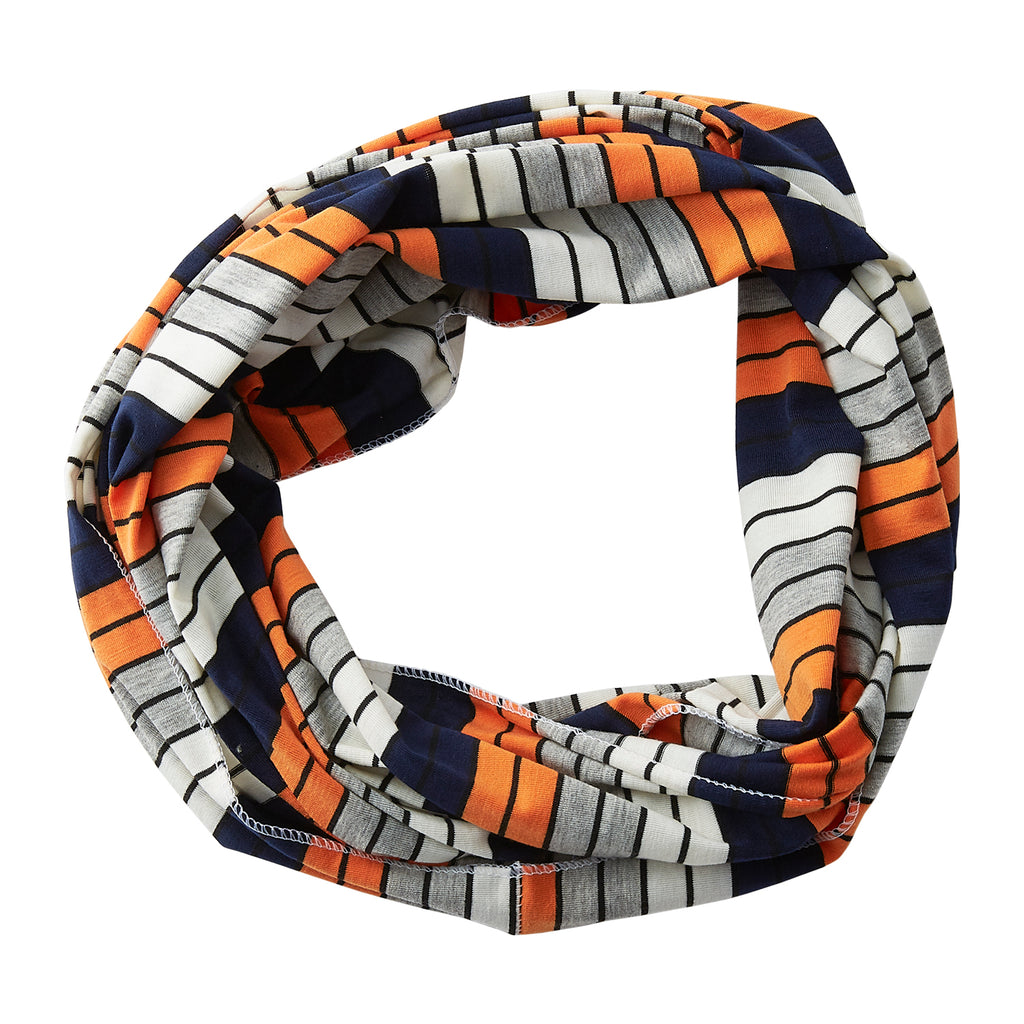 Gray Striped Infinity - Navy Orange