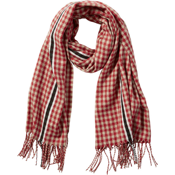 Red Petite Check Fringe Scarf