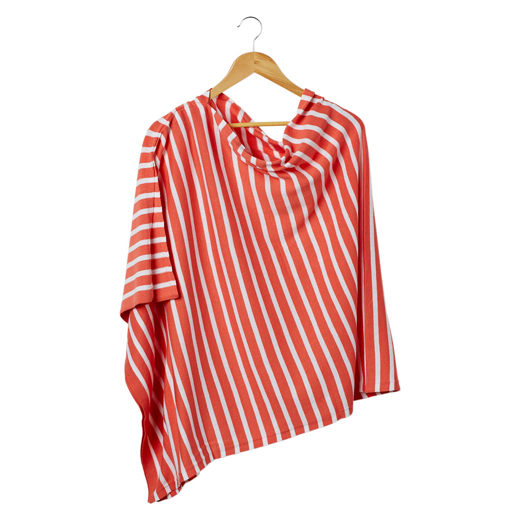 Nautical Stripes Poncho - Coral