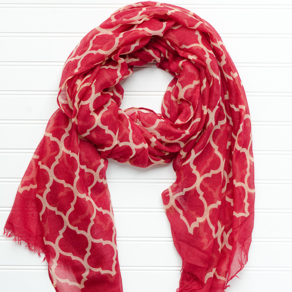 Vibrant Royal Scarf - Garnet Gold