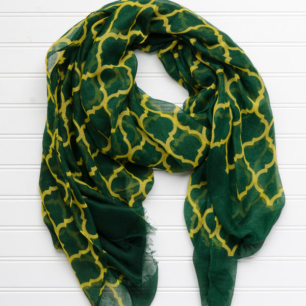 Vibrant Royal Scarf - Green Gold