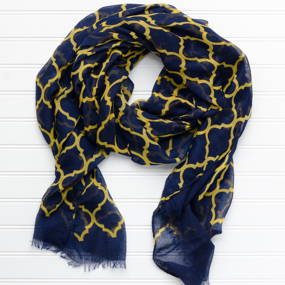 Vibrant Royal Scarf - Navy Gold
