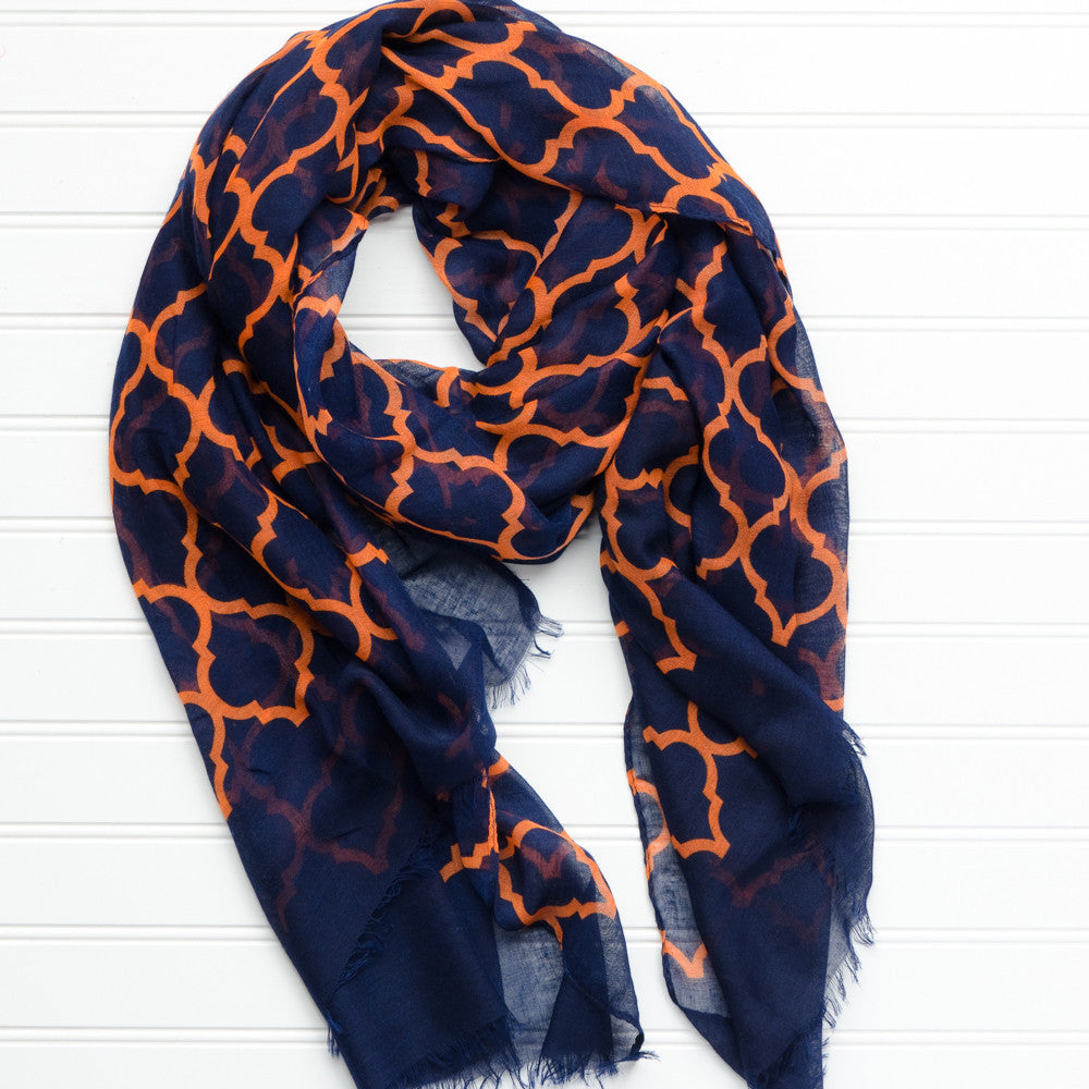 Vibrant Royal Scarf - Navy Orange