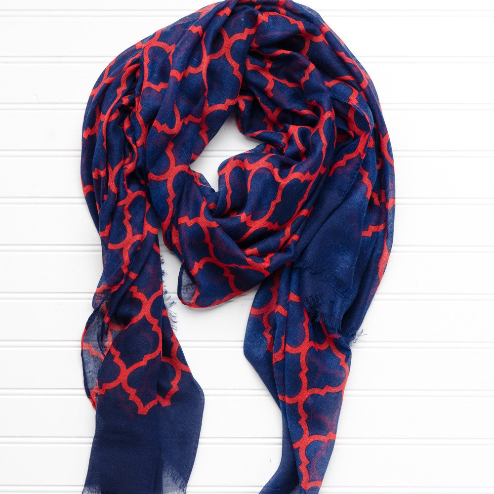 Vibrant Royal Scarf - Navy Red