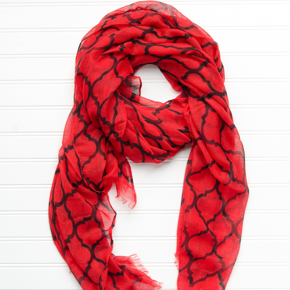 Vibrant Royal Scarf - Red Black