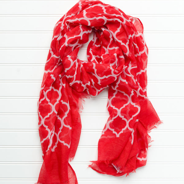 Vibrant Royal Scarf - Red