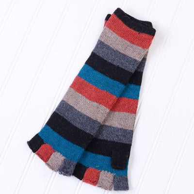 Long Fingerless Gloves with Bright Stripes - Black/Blue/Orange