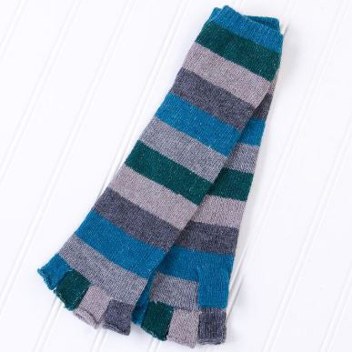 Long Fingerless Gloves with Bright Stripes - Teal/Gray