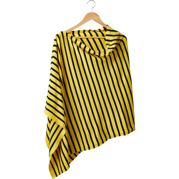 Game Day Narrow Stripe Cotton Poncho - Black Gold