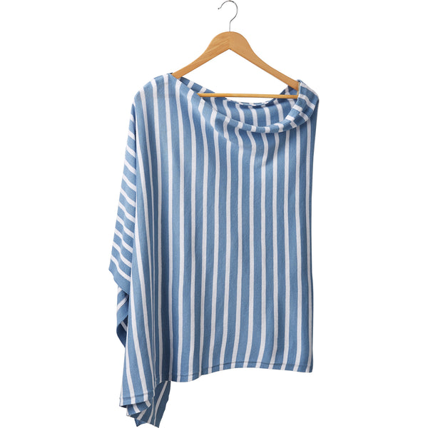 Game Day Narrow Stripe Cotton Poncho - Light Blue White