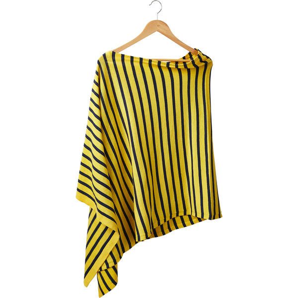 Game Day Narrow Stripe Cotton Poncho - Navy Gold