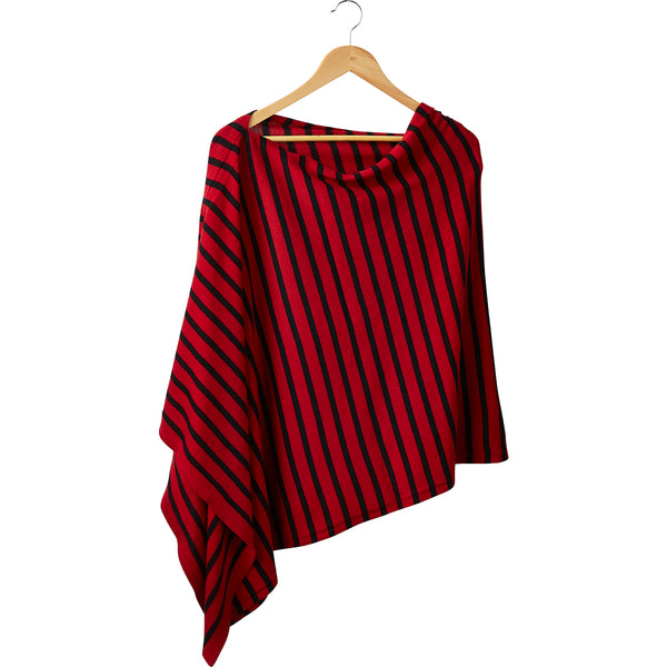 Game Day Narrow Stripe Cotton Poncho - Red Black
