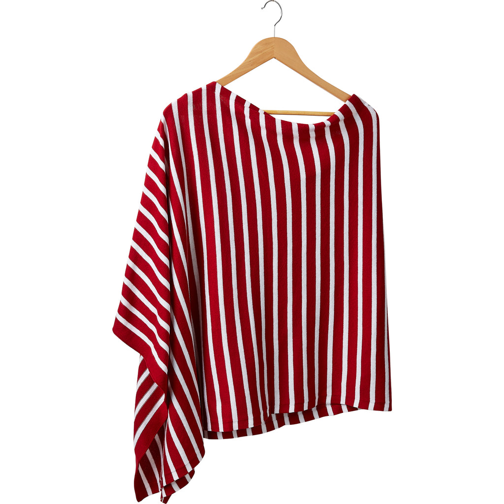 Game Day Narrow Stripe Cotton Poncho - Red White