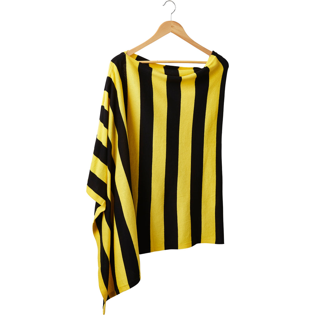 Game Day Wide Stripe Cotton Poncho - Black Gold
