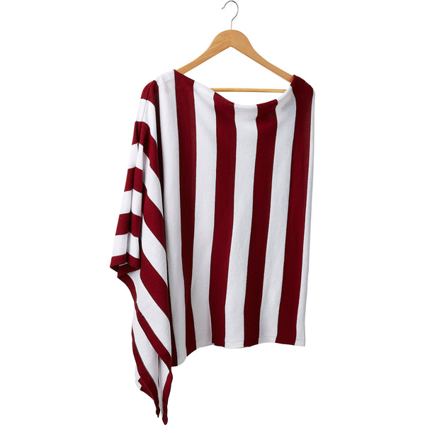 Game Day Wide Stripe Cotton Poncho - Crimson White
