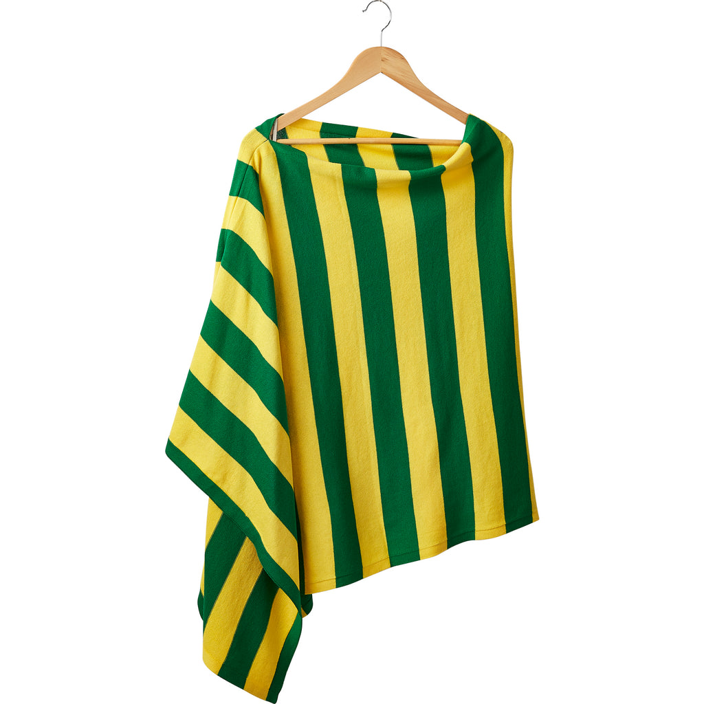 Game Day Wide Stripe Cotton Poncho - Green Gold