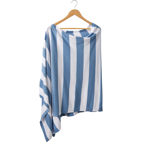 Game Day Wide Stripe Cotton Poncho - Light Blue White