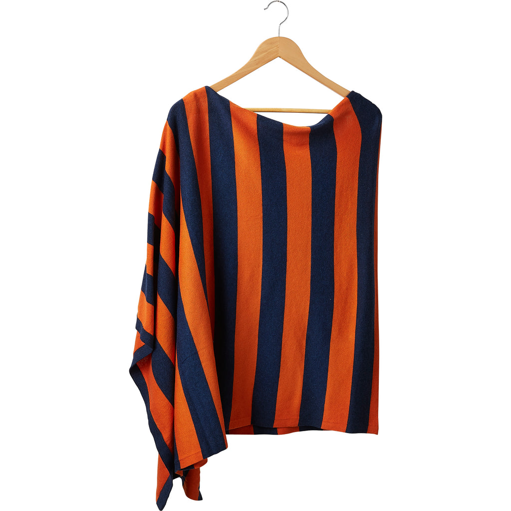 Game Day Wide Stripe Cotton Poncho - Navy Orange