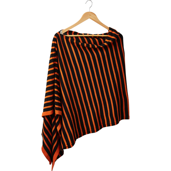Game Day Wide Stripe Cotton Poncho - Orange Black