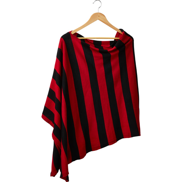 Game Day Wide Stripe Cotton Poncho - Red Black
