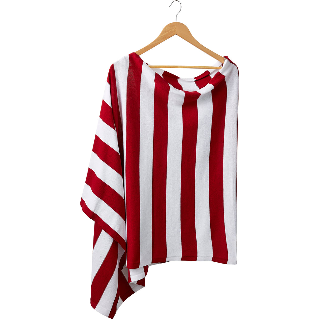 Game Day Wide Stripe Cotton Poncho - Red White