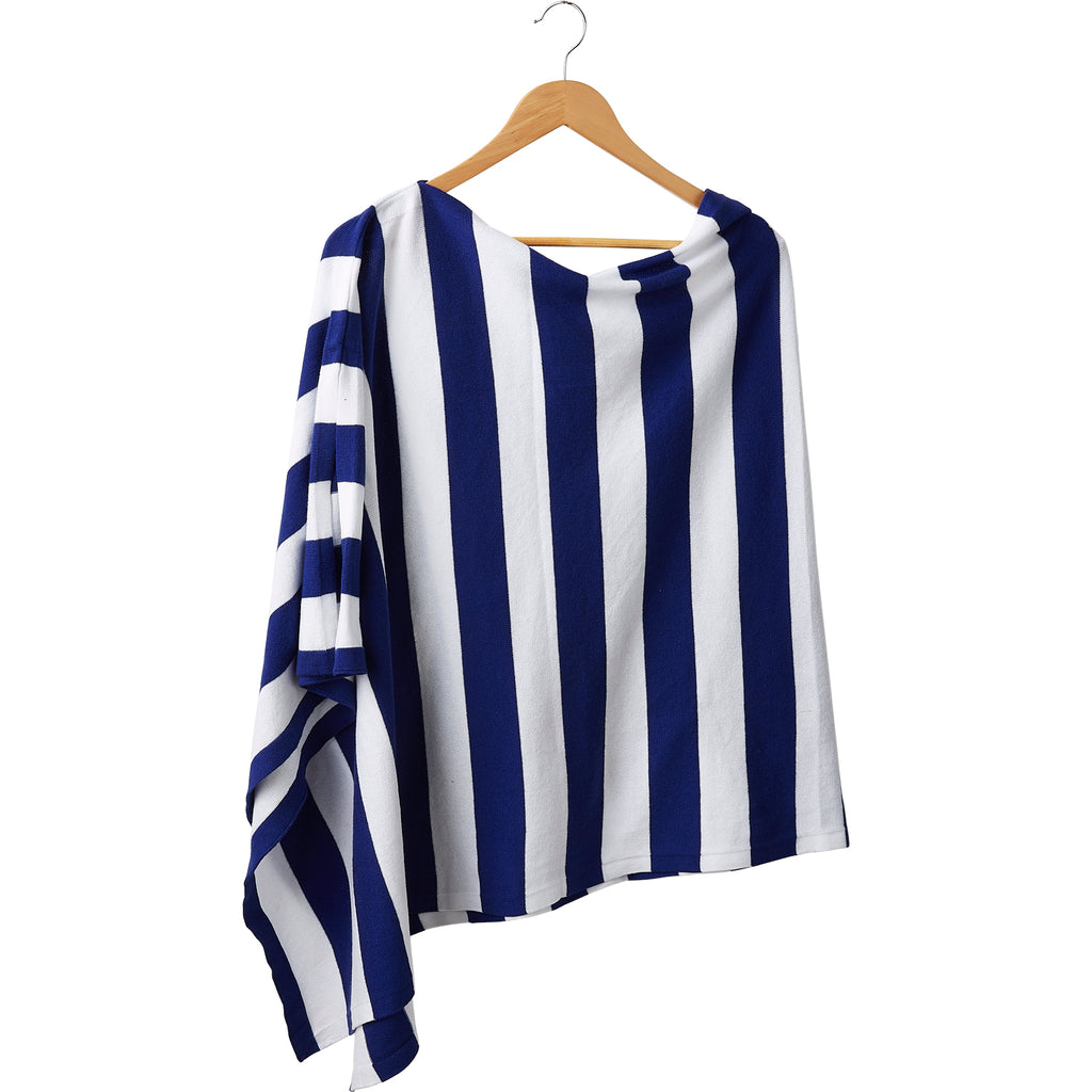 Game Day Wide Stripe Cotton Poncho - Royal White