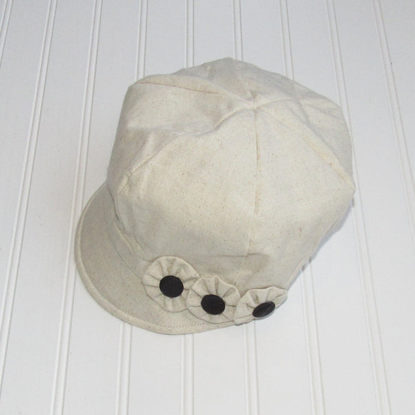Flower Button Hat - Cream