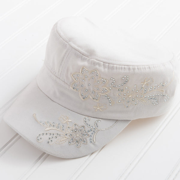 Tiny Floral Embroidered with Sparkle Hat - Cream